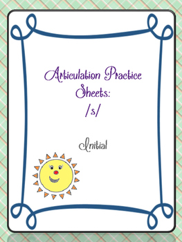 Articulation Worksheet /s/ initial FREEBIE