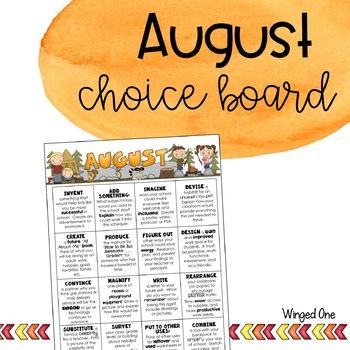 August Early Finishers: Choice Board {Intermediate}