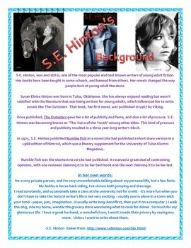 Free Author background sheet on S.E. Hinton
