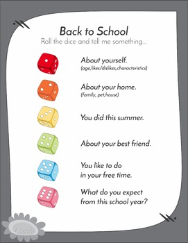 Free Back to School Ice Breaker Dice Game