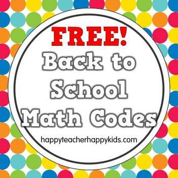 Free Back to School Math Codes, K-2