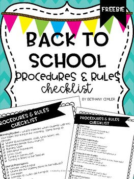 Free Back to School Procedures & Rules Checklist