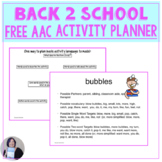 Free Back to School with AAC Vocabulary planner for Speech