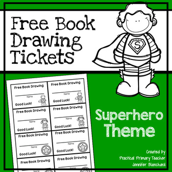 Free Book Drawing Tickets - Superhero Theme
