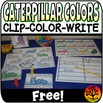 Caterpillar Centers Free Clip Cards Spring Activities Colo