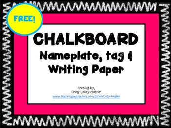 Free Chalkboard Name tag, plate & Paper