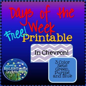 Free Chevron Days of the Week Printable