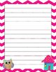 Free Chevron Owl Themed Writing Papers and Snack Bag Cove