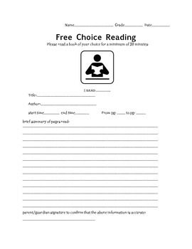 Free Choice Reading Homework Form