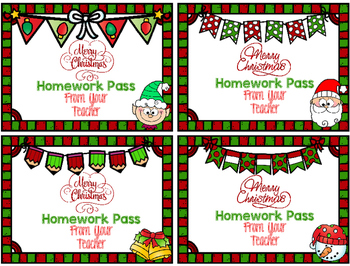 Free! Christmas Homework Passes From Your Teacher