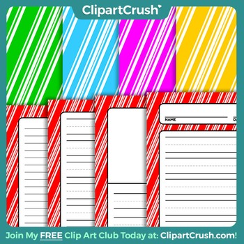 Royalty Free Christmas Writing Papers - Candy Cane Striped