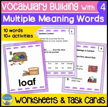 Homonyms: Multiple Meaning Vocabulary Task Cards & Picture