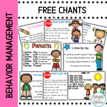 Behavior Freebie: Classroom Management Poems and Chants Fo