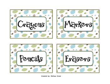 Free Classroom Supply Labels