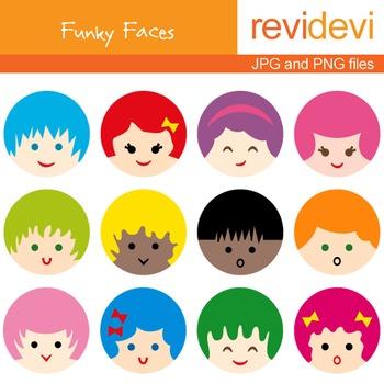 Free Clip art - Cute Kids Faces clipart freebie - Funky Fa