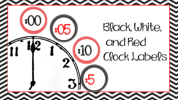 Red, Black, and White Clock Labels