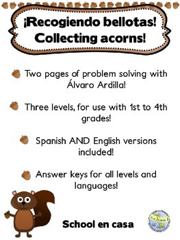 {Free} Collecting Acorns! Problem Solving: Three Levels, S