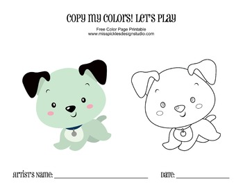 Free Color Page Printable- Blue Puppy