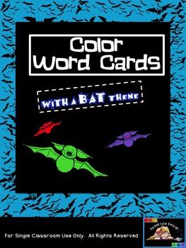Free Color Word Cards - Bats (Sweet Line Design Digital Clipart}
