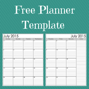 Free Customizable Planner Template