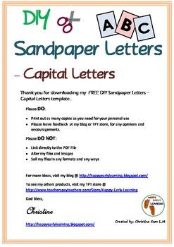 Free ~ DIY Sandpaper Letters Template - Capital Letter