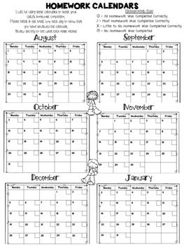 Free Daily Homework Calendars 2016-2017 {Track Homework Co