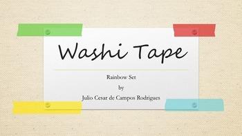 Digital Embellishment   Washi Tape   Rainbow Set