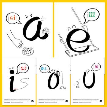 Free ESL printable: English vowel names for Spanish-speaking kids