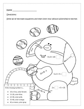Free Easter Color by Number Third Grade CCSS Operations &