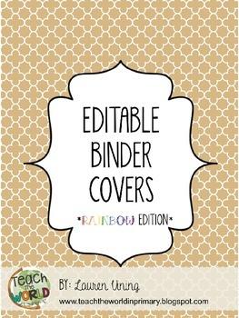 Free Editable Binder Covers (Rainbow Edition)