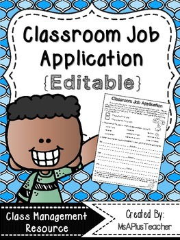{Free & Editable} Classroom Job Application