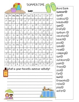 Free End of Year Summer Wordsearch