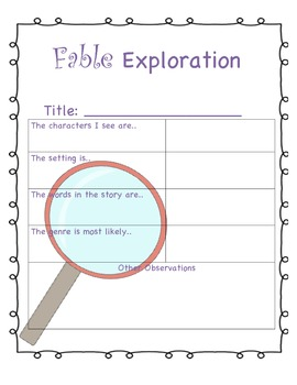 Free Fable Exploration (CCSS Aligned!)