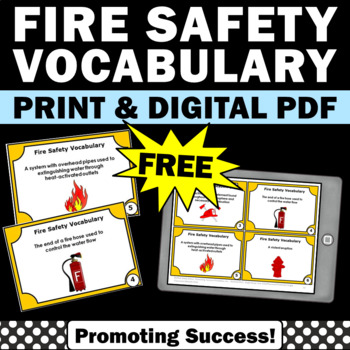 FREE Fire Safety Prevention Week Vocabulary Task Cards Act