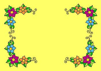 Free Flower Frame  Colored Clip art