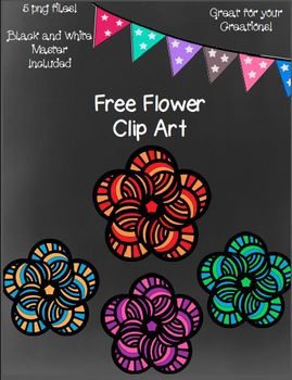 Free Flowers Clip Art ~ Black and White Master Included -