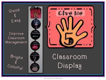Free Give Me 5 Classroom Display