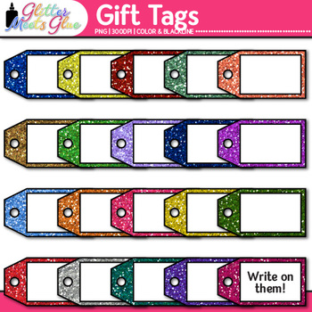 Gift Tags Clip Art {Glitter Holiday & Birthday Labels for