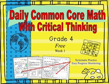 **Free** Grade 4 Daily Common Core Math With Critical Thin