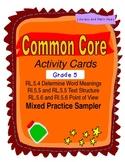 Free Grade 5 Common Core Reading Activity Cards