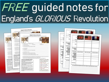 Free Guided Notes for England's Glorious Revolution PPT