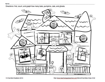 Free Halloween Haunted House Graphing Printable from Charl