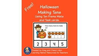 Free Halloween Making 10 with Ten Frames and Ten Frame Mats