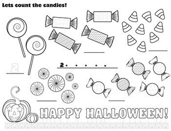 Free Halloween Math Fun Count Candies Kids Colouring Templ