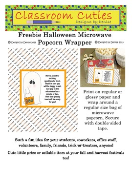 Free Halloween Microwave Popcorn Wrapper