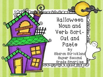Free Halloween Noun and Verb Cut and Glue