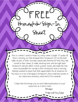 Free Homework Sign-In Sheet