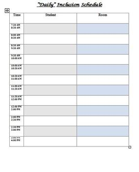 Free - Special Ed - Inclusion Schedule