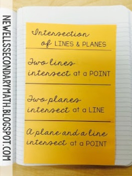 Free Intersections of Lines and Planes Foldable