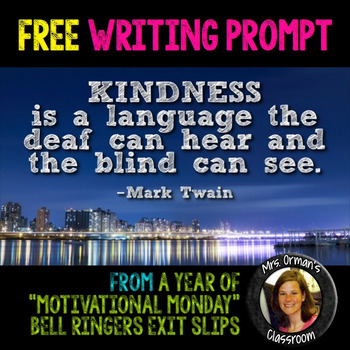 Free Kindness Quote Writing Prompt #kindnessnation #wehold